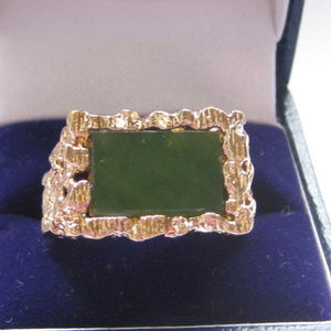 Vintage Park Lane Ring Men Jade Modernist Size 10